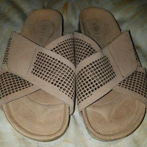 Anyi lu suede platform slide sandals